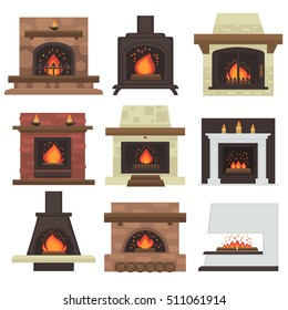 Vector set of home fireplaces with fire. Different fireplaces: wood burning and electric, coal and gas, bio-fuel stove. Flat icon design. Illustration isolated on white background.