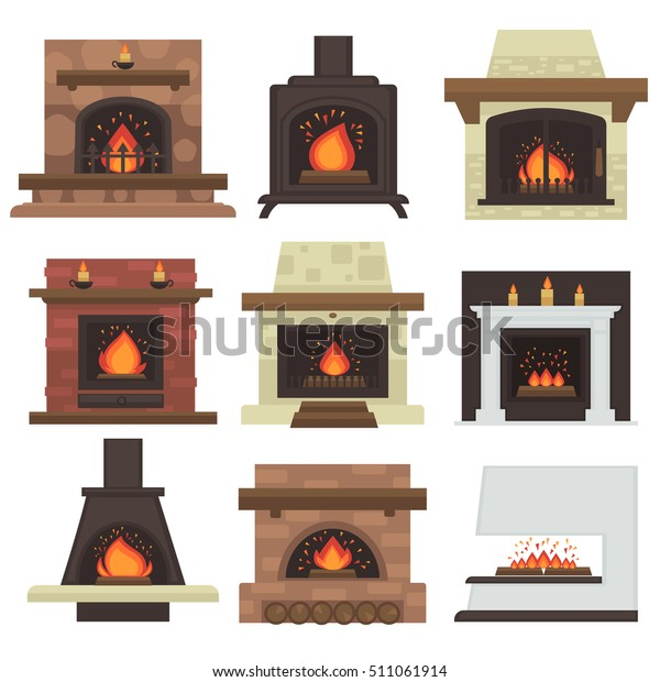 Vector Set Home Fireplaces Fire Different Stock Vector Royalty
