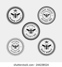 Vector set of honey and bee labels, badges  in black color for any use
