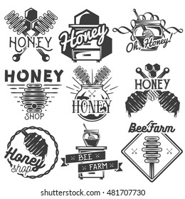 Vector set of honey and beekeeping labels, badges, logo, icons and design elements. Isolated objects on white background.