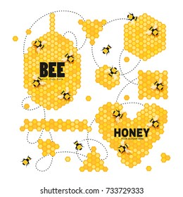 Vector set with honeycombs and bees. Your logo here. Honey collection.