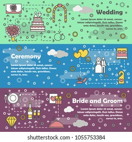 Vector set of horizontal banners with Wedding, Ceremony and Bride and groom line art flat style design elements, web templates.