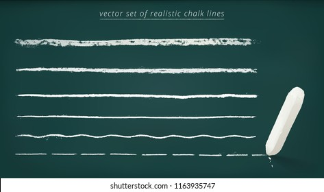 Vector set of horizontal chalk lines with a different thickness. 3d realistic piece of chalk. Detailed borders with a rough grungy texture. Green chalkboard.  Straight, wavy, dashed underline strokes.