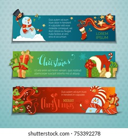 Vector set of horizontal Christmas banners with cute snowmen. Cartoon snowmen and gift boxes, Christmas tree with baubles, candy canes, snowflakes and stars. Singing snowmen. Copy space for your text.