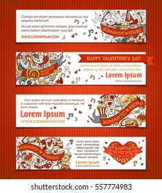 Vector set of horizontal love banners. Cartoon Valentine's day and wedding red and gold banners. Romantic music, weekend, menu, tours. There is place for your text on white background.