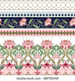 Vector set of horizontal seamless borders with motives of the paintings of ancient Indian fabrics. Tree of Life collection.
