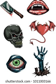 Vector set of horror stickers with Bloody  knife, vampire lips, skull, devil heart,  eye and zombie hand