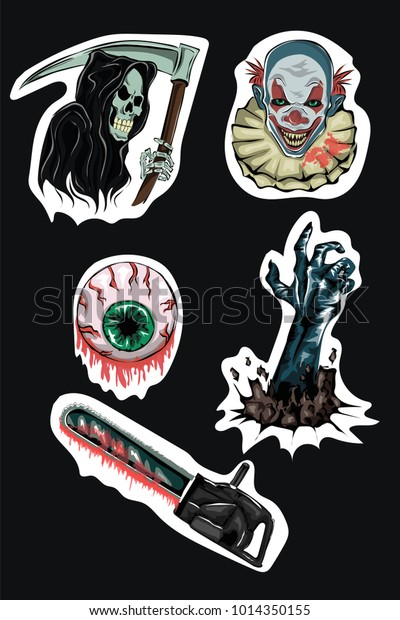 Vector Set Horror Stickers Bloody Chainsaw Stock Vector