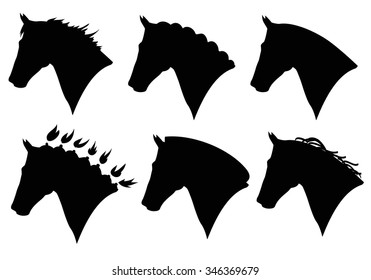 vector set of horse head silhouette. Different horse haircut type. Web design, icon page element