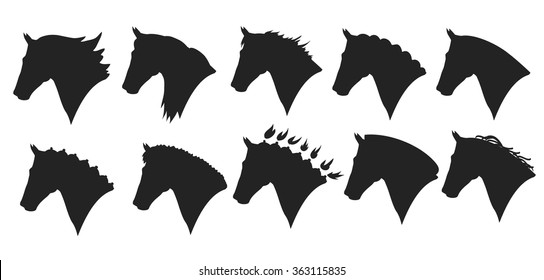 vector set of horse head silhouette