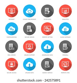 Vector set with hosting, server, database, network and cloud computing icons.