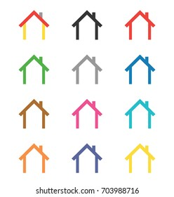 Vector set of house icons and logo elements with different colors.