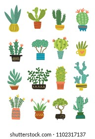 Vector set of houseplants