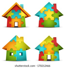 Vector set of houses made of puzzle.