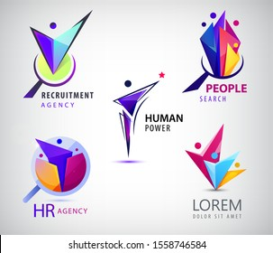Vector set of human, faceted people logo. Hr search, recruitment logos. Origami people, 3, 4,1 person inside the magnifier, job search, human sourses