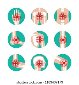 Vector set of human joints with pain rings. Disease in bone, knee, leg, pelvis, scapula, skull, elbow, foot and hand illustration. Arthritis and rheumatism icons.