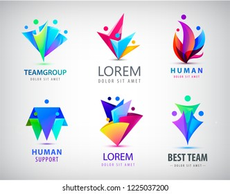 Vector set of human logos. 3, 4 person icons, group of people together. 3d origami colorful signs. Social net, family, teamwork, business cooperation, meeting