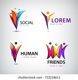 Vector set of human logos. Men group, leader, social group, net, web, communication icons