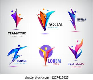 Vector set of human, man logos. People, 3, 2, 1 person icons. Leader, winner, sport, family, business team creative signs.
