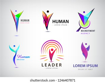Vector set of human, man logos, icons. Leader, positive person, winner, hr recruitment, fitness, sport, healthy lifestyle