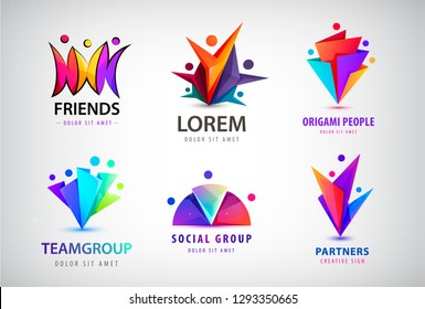 Vector set of human, people group logos. Family, business teamwork, friendship concept. 3d origami, multicolor men logo collection