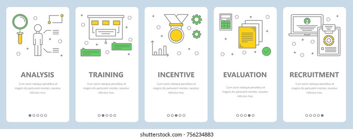 Vector set of human resources concept vertical banners. Analysis, Training, Incentive, Evaluation, Recruitment web templates. Modern thin line art style design elements, icons for website menu, print.