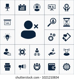 Vector set of human resources icons. Simple HR elements illustration. Office symbols design from business collection. Can be used in web and mobile.
