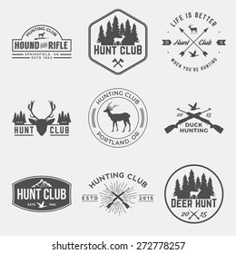 vector set of hunting club labels, badges and design elements