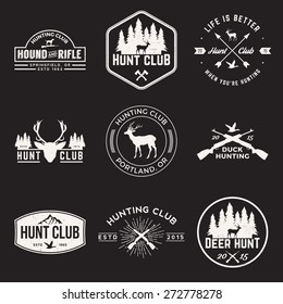 vector set of hunting club labels, badges and design elements with grunge textures
