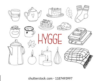 Vector set of hygge elements. Hygge means coziness in Danish. Hand drawn doodle objects. Cozy things isolated on a white background.  Can be used for greeting cards, posters, stickers.