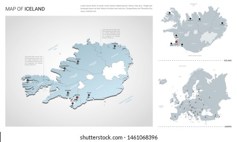Vector set of Iceland country.  Isometric 3d map, Iceland map, Europe map - with region, state names and city names.