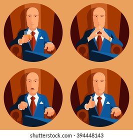 vector set icon businessman sits in an armchair
