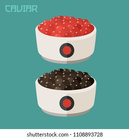 Vector set Icon of caviar fish red and black caviar. A plate of black caviar of sturgeon fish and red caviar of salmon fish.