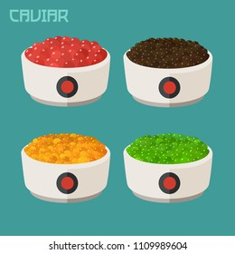 Vector set Icon of caviar fish red, green caviar, black and yellow. In the dish, flying fish roe of different colors and red caviar of salmon fish.
