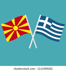 Vector set Icon flags of Greece and Northern Macedonia. The flags of Greece and the Republic of Macedonia are crossed.