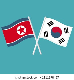 Vector set Icon flags of South and North Korea. The flags of Koreas are crossed.