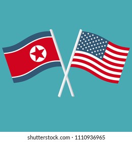Vector set Icon flags of United States of America and North Korea. The US and Korean flags are crossed.