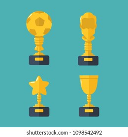 Vector set Icon gold cups - prizes for champions. Cup winner in the form of a soccer ball; Prize in the form of a bearded head; Gold Cup prize in the form of a star; Reward for the victory in the form