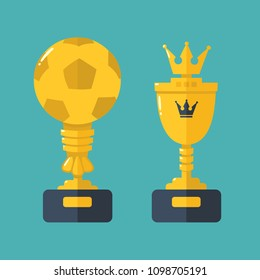 Vector set Icon gold cups - prizes for champions. Cup winner in the form of a soccer ball; Prize in the form of a golden bowl with a crown.