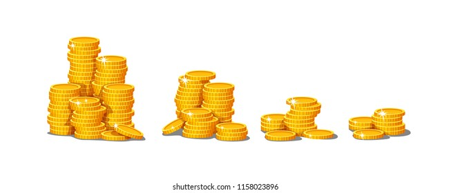 vector set of  icon of golden coin