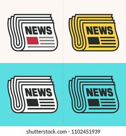 Vector set Icon newspaper. Newspaper Folded in two, newspaper of different colors, text: News.