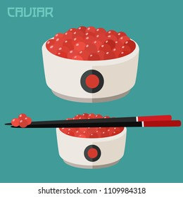 Vector set Icon of red fish roe.In a plate of red caviar of salmon fish, on a plate of Chinese sticks.