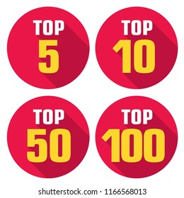 Vector set icon top rating: tor 5; top 10; top 50 and top 100 rating. Illustration in a flat style.