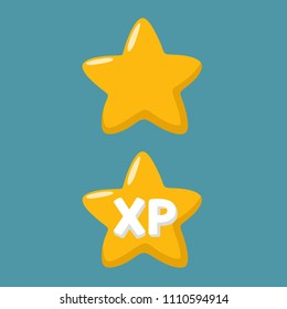 Vector set Icon yellow star. In the picture, a game star, and a star with the text: XP