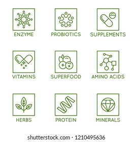 Vector set of icons and badges for packaging for natural health products, vitamins, supplements - healthy eating and dieting - set of design elements for organic and bio products