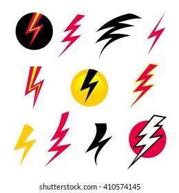 Vector set icons black Lightning bolt. Set of Thunder Icons with lightning. Electricity danger thunder. vector Lightning bolt isolated.