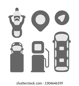 vector set of icons for the card. geolocation icon, arrow, gas station. motorcyclist, truck, passenger bus top view