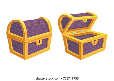 Vector set of icons with cartoon closed and opened violet wooden pirate chests with golden metal stripes and keyhole on white background