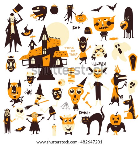 vector set icons characters halloween theme stock vector royalty