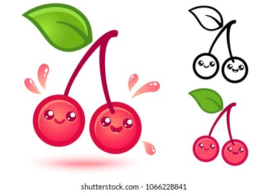 Vector set icons cherry in kawaii style. Cute cherry with juicy drops in manga style.